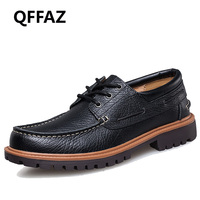 QFFAZ New 2018 Punk Style Urban Men Leather Shoes Retro Lace Up Hand Sewing Men Boat