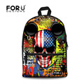 FORUDESIGNS Cool Style Youth Backpack New Brand Punk Skull Fashion Shoulder School Backpack Bags Canvas Student Mochila Escolar