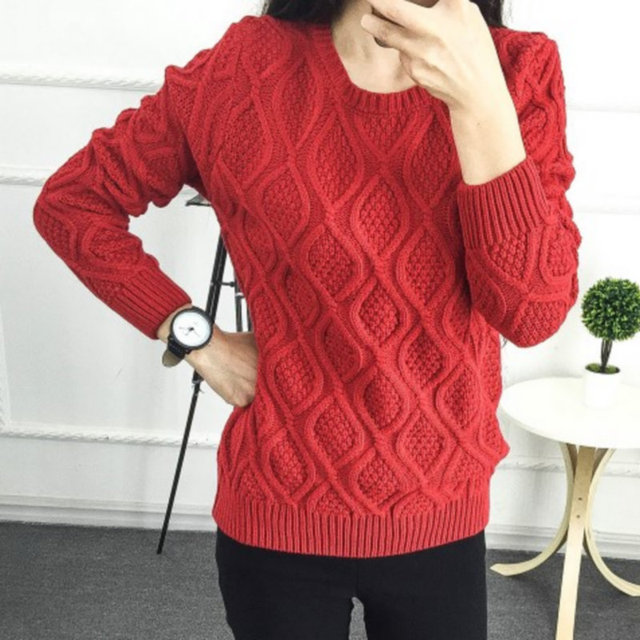 Hot New Autumn Winter Women Fashion Cotton Elastic Sweater Lady Knitted  Long Sleeve O-neck Woolen Pullovers 0a7a1de70