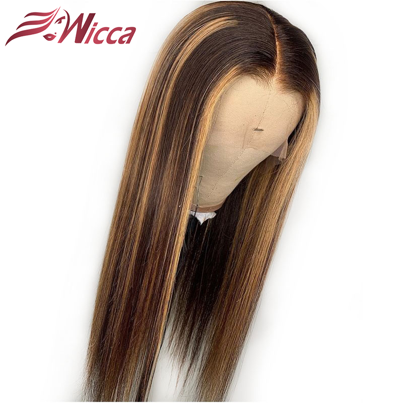 HTB1pCFDaAL0gK0jSZFAq6AA9pXaN Wicca Highlight 13x6 Lace Front Human Hair Wigs With Baby Hair 8-24 Inches Brazilian Remy Hair Bleached Knots
