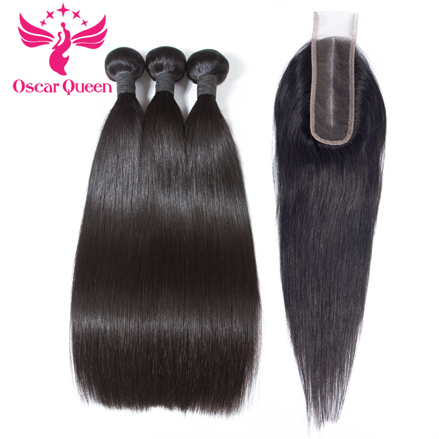 Straight Hair Bundles With Closure Remy Human Hair 3 Bundles With Closure Malaysian Hair Weave Bundles