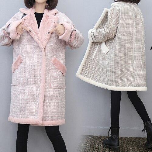 e6f438fc4 Beige Abrigo Mucho De Piel Para Engrosada Algodón Mujeres Mujer Ropa Trench  Elegante Casaco rosado Cuadros ...