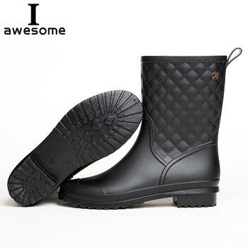 цена на Women PVC Ankle Rain Boots Waterproof Water Shoes  Pure Color Woman Rainboots Outdoor Wellies Slip-on Rainy Shoe 36-41 Plus size