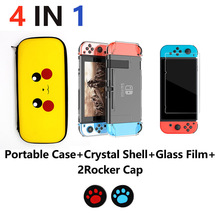 4 in 1 Nintend Switch Accessories Travel Carrying Bag pika & Glass Film & Sticker for Nintendo Switch & Caps for NS & shell
