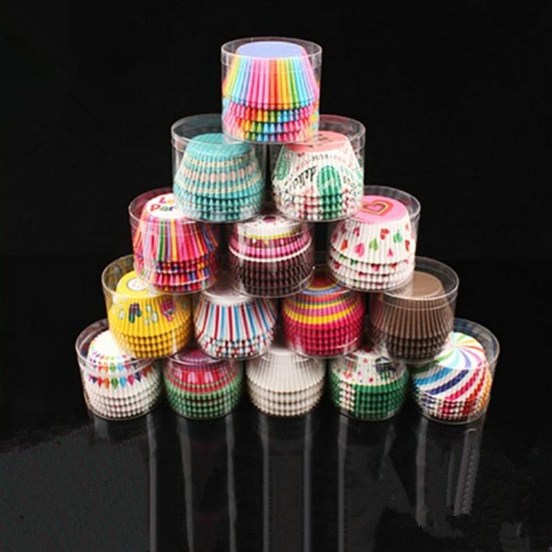 100 шт бумажные обертки для кексов чашки выпечки коробки инструменты