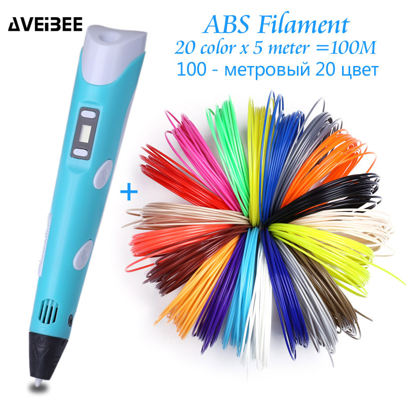 Original Model 3D Pen DIY 3 D Printing Drawing Pens With 100/200 Meter ABS Filament Creative Toy Gift For Kids Design Wholesale