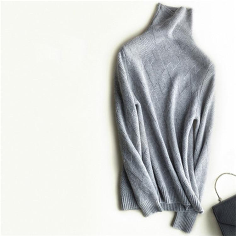 Femmes Couleur En Lâche Col Coréen Roulé 2xl Chandail Grey Argyle S Cachemire Pur Solide Style light Tricot Beige Pull white O4BczW