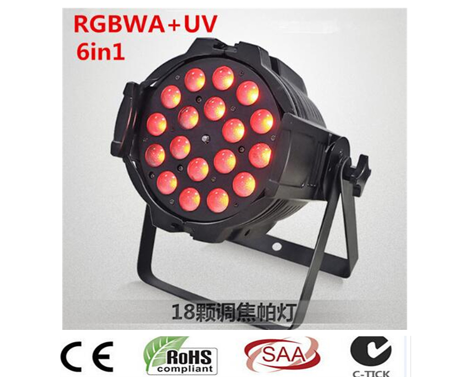 HOT 18X18 W RGBWA UV 6in1 Led Zoom Par Luce led effetto luce dj dmx luci 8 pz 18x18 w zoom luci led par con 1 flight case rgbwa uv 6in1 led par luce dj controller dmx luci led zoom par luce