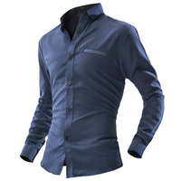 New BBYES Men All Seasons Long Sleeve Shirt Dot Printed Casual Business Slim Fit Cotton Tops