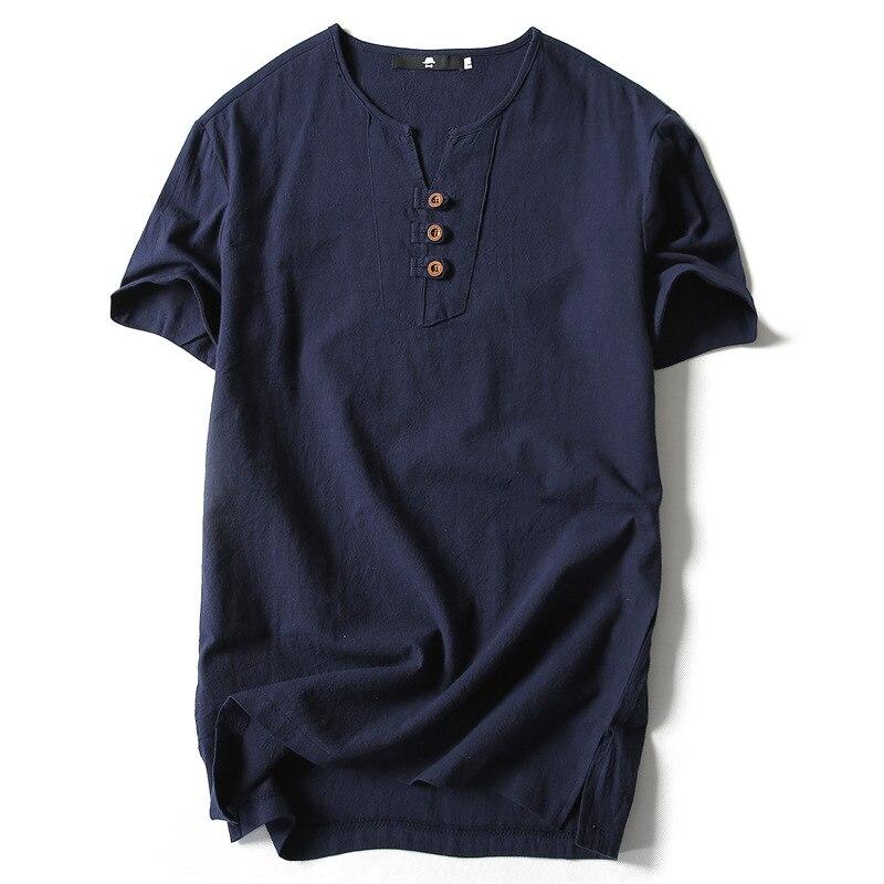 2018 neue Heiße Verkauf Feste Beiläufige Keine Sommer Leinen Kurze T-shirt Männer Hedge chinas Wind Menswear Hanf Material Kleidung nass