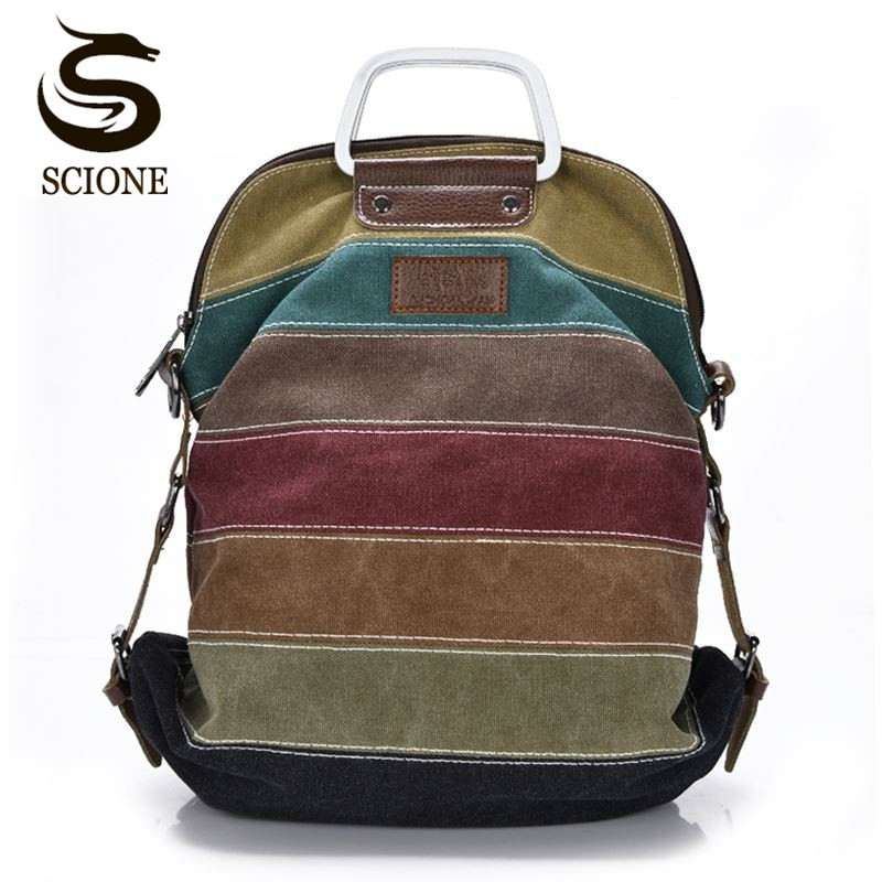 High Quality Canvas Backpack Patchwork Rainbow Color Bag Women Canvas Backpacks Rucksack Multifunction Girls Crossbody Bagpack
