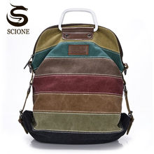 High quality Canvas Backpack Patchwork Rainbow Color Bag Women Canvas Backpacks Rucksack Multifunction Girls Crossbody Bagpack(China)