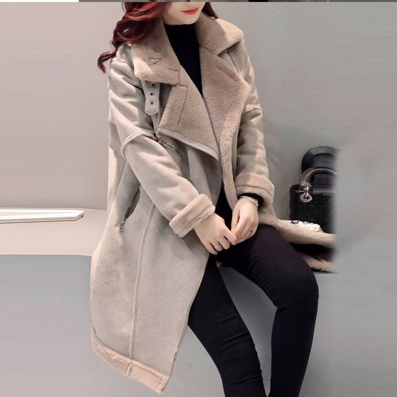 Long Tournent Laine Hiver Coton Vestes Femelle Outwear Taille Agneau La Fourrure Veste Bas Plus Kaki Chaud Femmes Vers De Le Épaissir Manteau Super Qh1073 q0015CUw