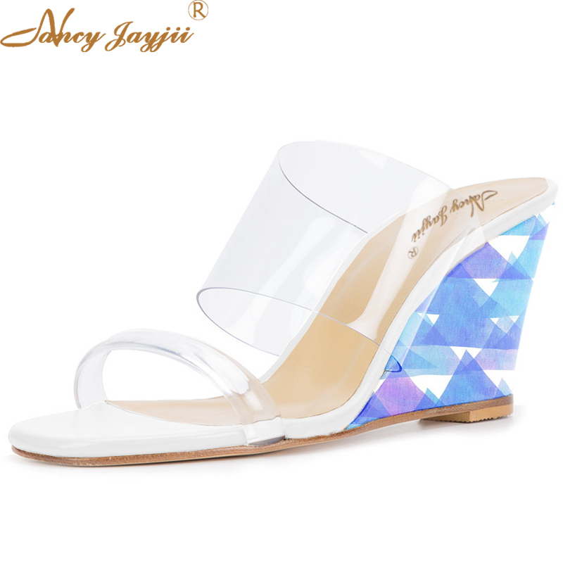 Summer PVC High Wedges Heels Shoes Women Casual Peep Toe Elastic Sandals Women Party Dress Chaussure Femme 4-16 Nancyjayjii phyanic 2017 gladiator sandals gold silver shoes woman summer platform wedges glitters creepers casual women shoes phy3323