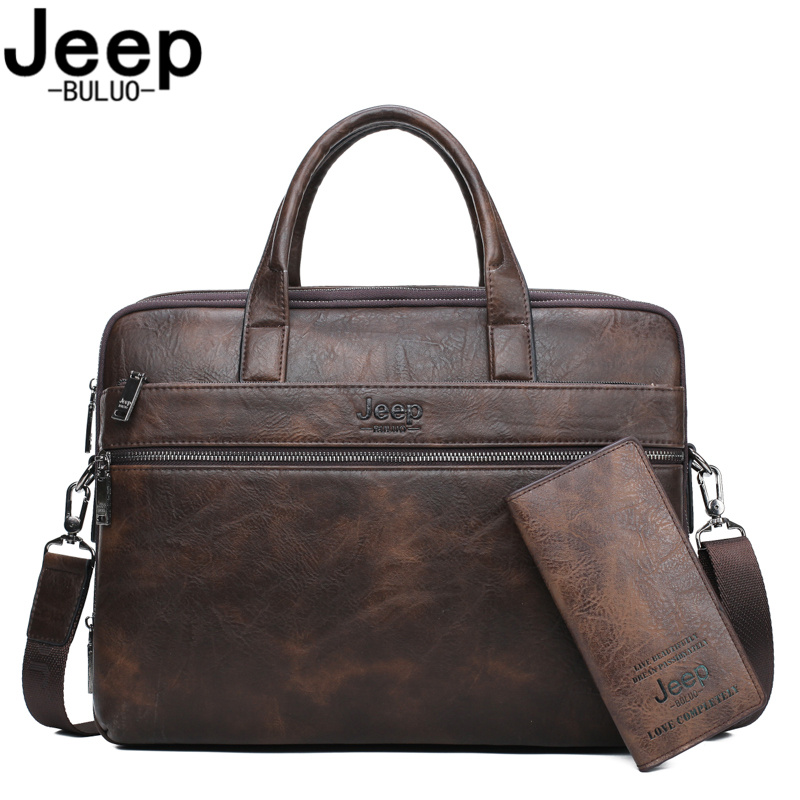 JEEP BULUO Brand Man's Business Briefcase Bag 2pcs/set Split Leather Shoulder Bag Men Office Bags For 14 Inch Laptop A4 Causel