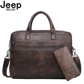 JEEP BULUO Brand Man\'s Business Briefcase Bag 2pcs/set Split Leather Shoulder Bag Men office Bags For 14 inch Laptop A4 Causel - Category 🛒 Luggage & Bags