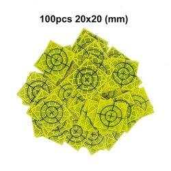 100 шт флуоресцентный желто-зеленый Отражатель Лист 20x20 мм Светоотражающая цель для общей станции