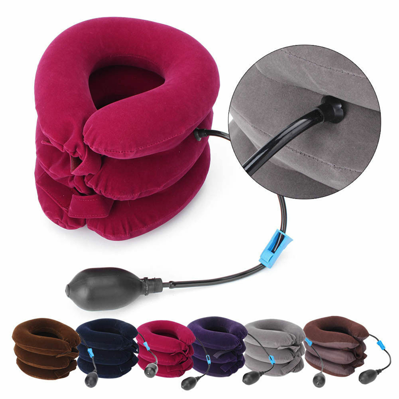 Inflatable Air Compressor Neck Cervical Traction Collar Therapy Massage Pillow Pain Relief Travel Car Cover Pillow(China)