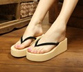 2017 new casual fashion bohemian roma sandwich toe slippers summer slope with thick bottom flip woman beach sandals