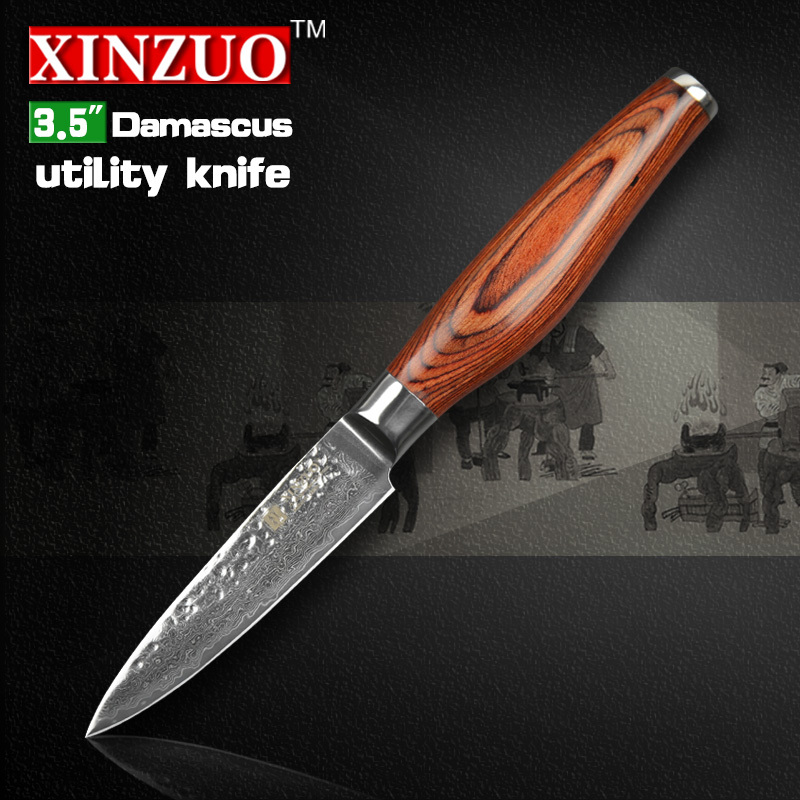 2015HOT 73 layers 3 5 paring font b knife b font Japanese Damascus steel kitchen font