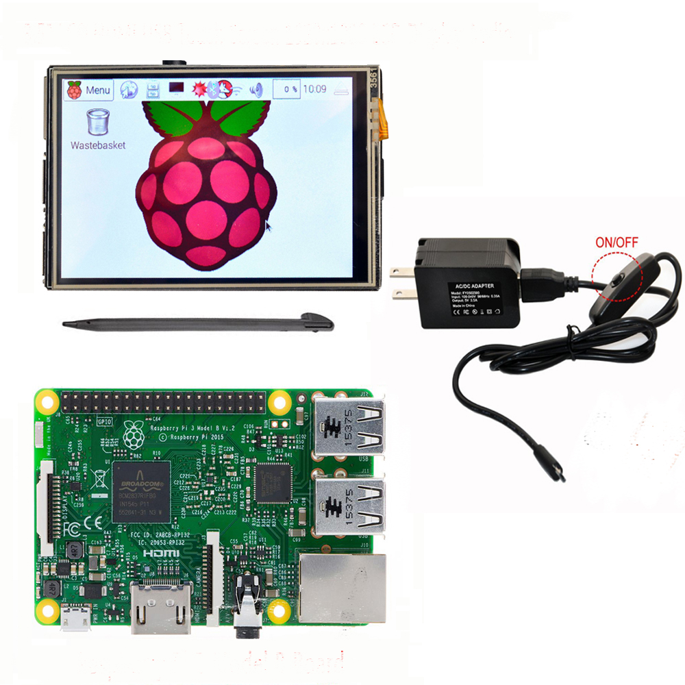 raspberry pi 3 model b board 3 5 lcd hdmi usb touch. Black Bedroom Furniture Sets. Home Design Ideas