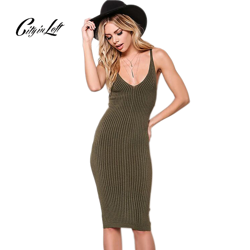 Buy Cheap City 2017 Women Sexy Slim Summer Dress Knitted Bandage Plunge V Neck Backless Army Knitting Dresses Women Club Dresses 1048