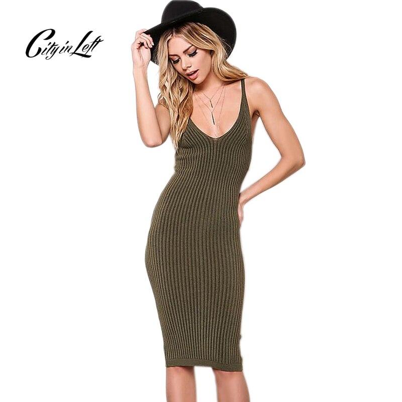 City 2018 Women Sexy Slim Summer Dress Knitted Bandage Plunge V Neck Backless Army Knitting Dresses Women Club Dresses 1048