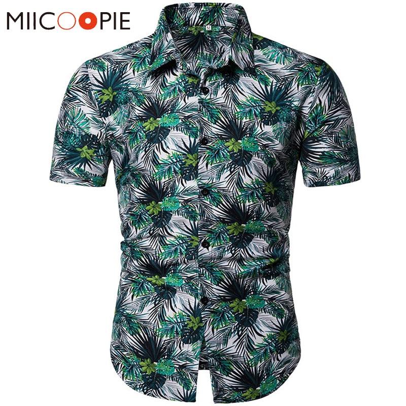 Men Short Sleeve Hawaiian Shirt Summer Floral Pattern Printed Casual Cotton Dress Shirts Camisa Social Male Chemise Homme XXXL