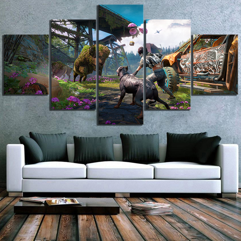 Prints Home Decoration Canvas 5 Pieces Far Cry Painting For Living Room Game Wall Art Creative Modular Pictures Poster Framed image