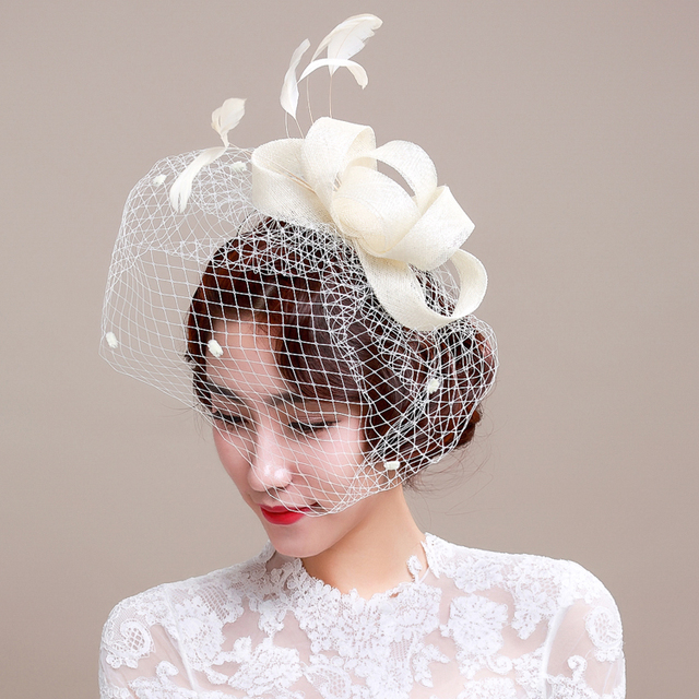 23cc2e11b63a4 Beautiful Ivory Birdcage Bridal Flower Feathers Fascinator Bride Wedding  Hats Face Veils In Stock