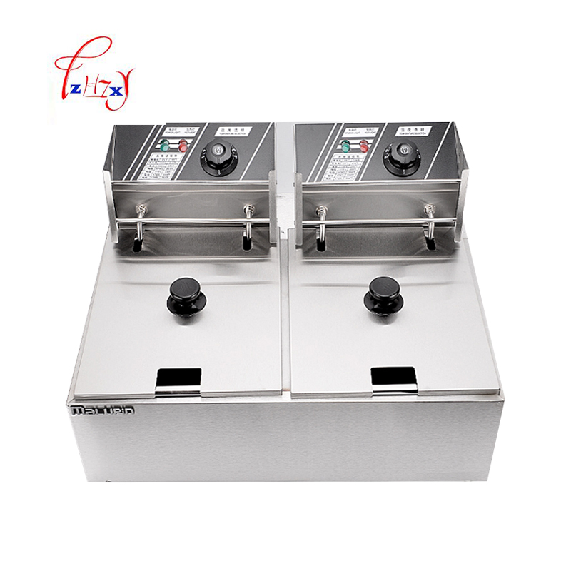 Stainless Steel 2 Tanks Electric Deep Fryer commercial electric fryer French fries Fried chicken Deep frying furnace WK-82 stainless steel double tank electric fryer machine 2 5kw 16l electric commercial deep air fryer french fries fried chicken fryer