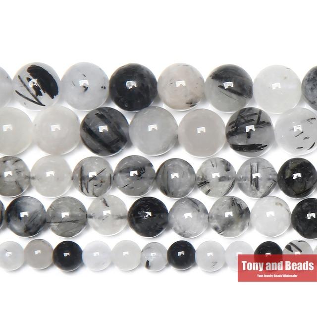 Free Shipping Natural Stone Smooth Black Rutilated Quartz Crystals Loose Beads 1
