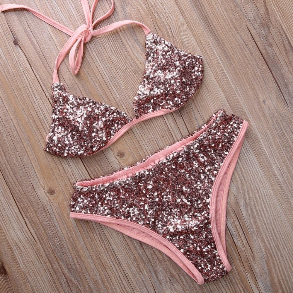61663b4e7a 2017 Sexy Sequined Bra  Brief Sets Halter Neck Bikini Beachwear Swimsuit  Bathing Suit Two Piece Shine Women Underwear Sets-in Bra   Brief Sets from  ...