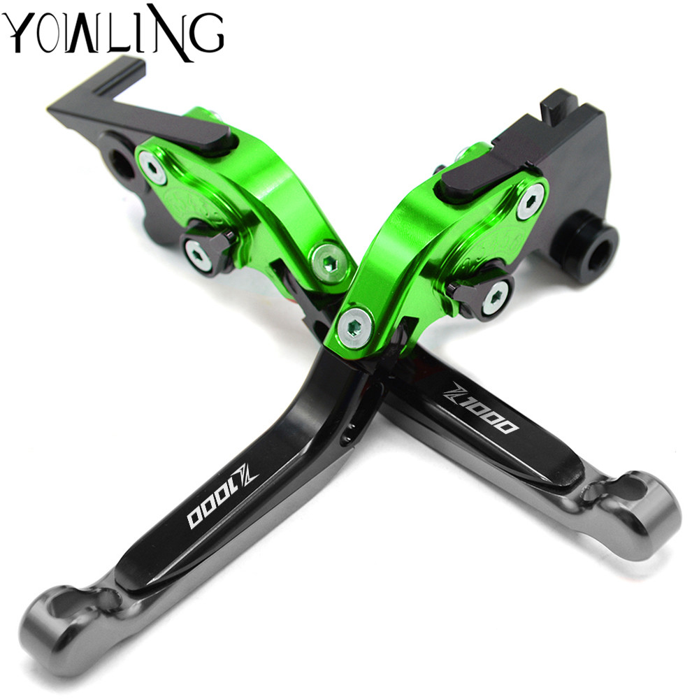 Logo(Z1000) Green+Titanium Motorcycle Brake Clutch Levers For kawasaki Z1000 2007 2008 2009 2010 2011 2012 2013 2014 2015 2016 for honda vfr 1200 f 2010 2011 2012 2013 2014 2015 2016 laser logo vfr1200f sliver titanium cnc motorcycle brake clutch levers