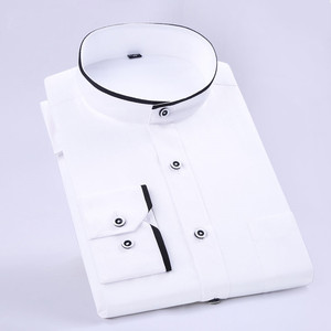 Image 1 - Camisas de vestir cómodas y suaves para hombre, camisas de manga larga entalladas con cuello levantado, camisas de esmoquin para fiesta y boda