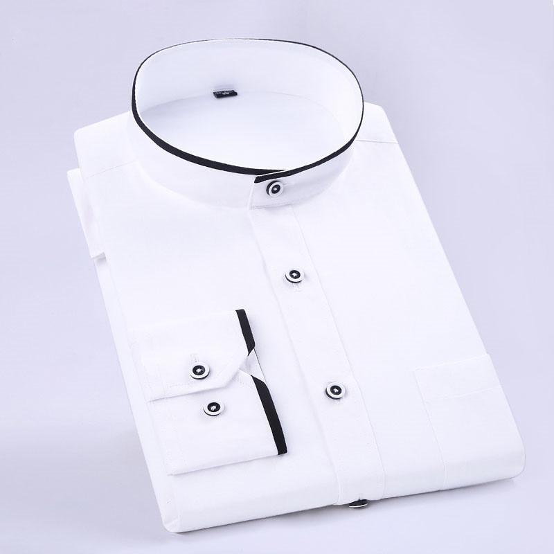 New Fashion Stand Collar Long Sleeve Slim Fit soft comfortable men dress shirts