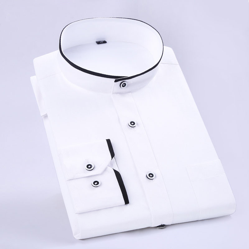 New Fashion Stand Collar Long Sleeve Slim Fit Soft Comfortable Men Dress Shirts Party Wedding Male Tuxedo Shirts