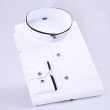 Nowa modna stójka z długim rękawem Slim Fit miękkie wygodne męskie ubranie koszule wesele męskie koszule smokingowe