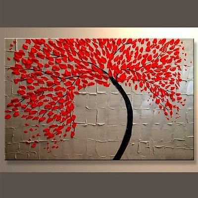 Modern Abstract Art Stretched Canvas Oil Painting Wall Decor Picture Red Accent