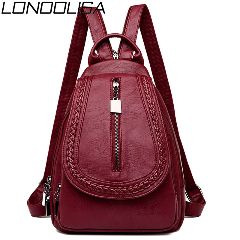 LONOOLISA Women Leather Backpacks High Quality Female Backpack Casual Daily Bag Sac A Dos Ladies Bagpack Travel School Back Pack