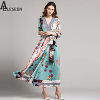 Vintage Long Dress High Quality 2017 Summer Autumn Floral Striped Print Pleat Elegant Long Sleeve Wrap