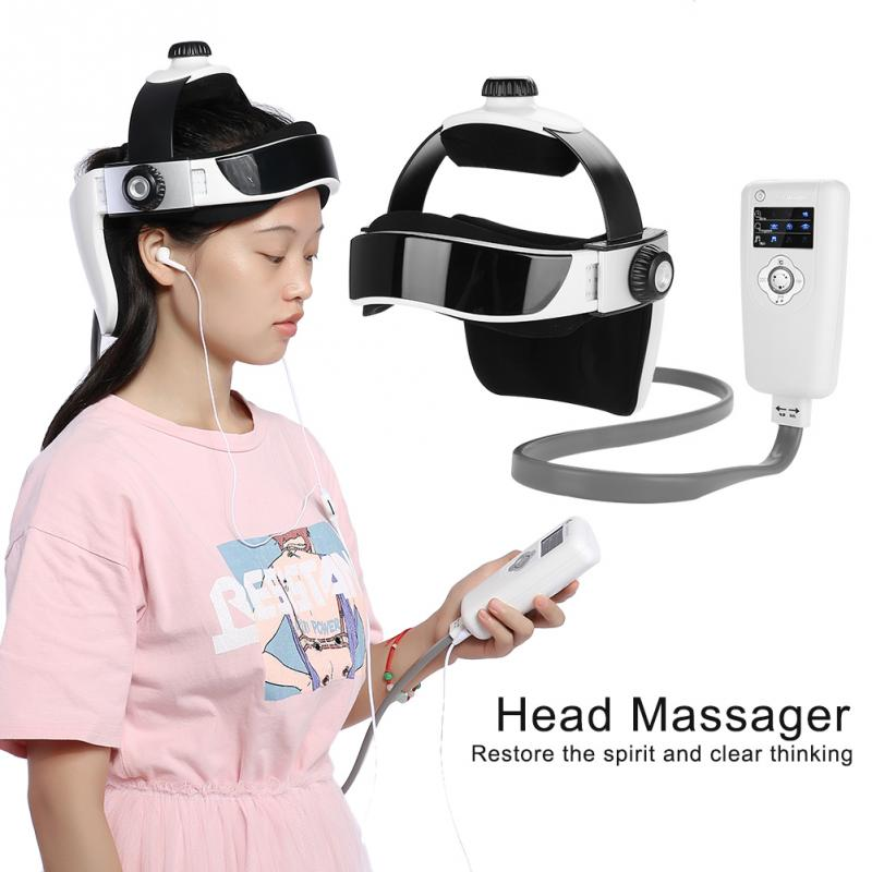 Electric Head Massager Pressure Vibration Helmet Acupuncture Brain Relax Massager Health Care humanized design electric head massager brain massage relax easy acupuncture points fashion gray health care home