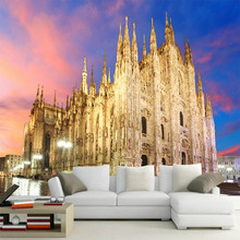 3D space Milan magnificent church wallpaper mural landscape photo mural TV sofa background living room bedroom silk wall paper 3d nature landscape wallpaper for living room home improvement photo modern wallpaper background wall painting mural silk paper