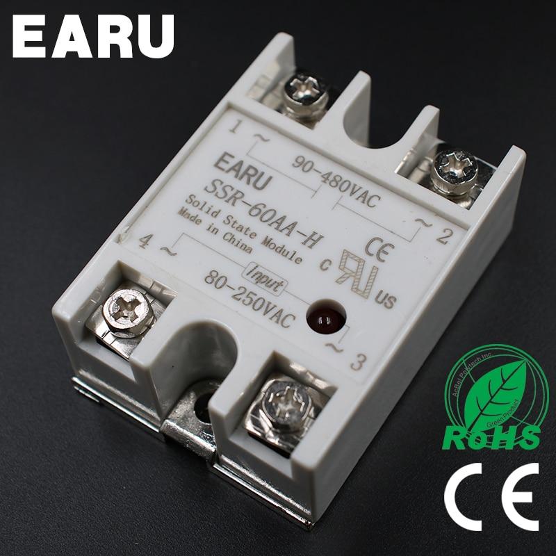 Solid State Relay SSR-60AA-H 60A 80-250V AC TO 90-480V AC SSR 60AA-H relay solid state Resistance RegulatorSolid State Relay SSR-60AA-H 60A 80-250V AC TO 90-480V AC SSR 60AA-H relay solid state Resistance Regulator