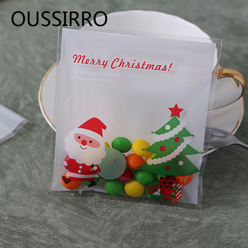 25Pcs Chirstmas Gift Bag Cute Plastic Self-adhesive Cookies Packaging Bag Biscuits Snack Baking Package Xmas Decoration Bag