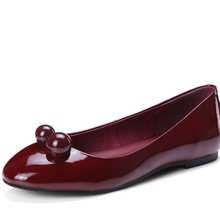 Patent Grain Leather sapatos femininos flat shoes woman Round Toe Boat Shoes Rubber beading Casual woman wedding shoes