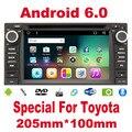 2 din Android 6.0 car radio para TOYOTA gps rádio do carro Quad Core 2din autoradio de Navegação GPS do carro Unidade de Cabeça HD Embutido fone de ouvido estéreo