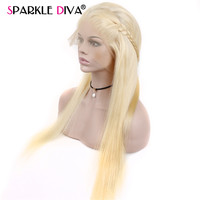 Straight 613 Lace Front Wig With Baby Hair Blonde 150% Density Peruvian Lace Wigs Pre Plucked Natural Hairline Remy Sparklediva