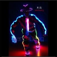 TC-17 Pleine couleur LED lumière colorée costumes partie usure salle de bal de danse Michael Jackson Programme conception gants Chapeaux chaussures vêtements