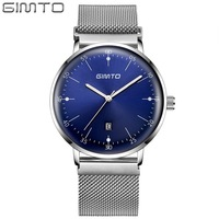 GIMTO Brand Luxury Men Watch Full Steel Business Watch Display Date Quartz Watches Male Clock Sport